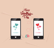 Valentines onnecting hearts together by phone Stock Images