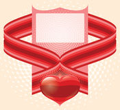 Valentines ornament with red love heart Stock Images