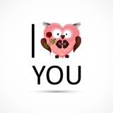 Valentines owl love you card. Stock Photos