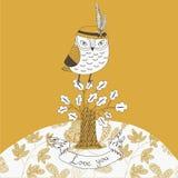 Valentines Owl In Oak Tree Royalty Free Stock Photos