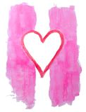 Valentines Painting. Pink and red painting with heart in the center on white Royalty Free Stock Image