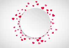 Valentines paper frame with gold glitter hearts. February 14th day. Vector confetti for valentine paper frame. Heart paper plate with red glitter. February 14th Stock Image