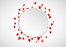 Valentines paper frame with gold glitter hearts. February 14th day. Vector confetti for valentine paper frame. Stock Images