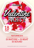 Valentines Party poster flyer design. Vector february disco club event celebration. Stock Photo