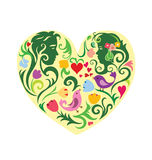 Valentines patterned heart with couple. Valentines colourfull patterned heart with couple. EPS 8 royalty free illustration
