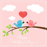 Valentines pink background with two birds and balloon heart Royalty Free Stock Photo