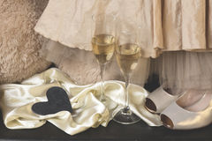 Valentines posh. Glasses of champagne. Selective focus Royalty Free Stock Images