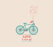 Valentines poster with balloons bicycle card stock illustration