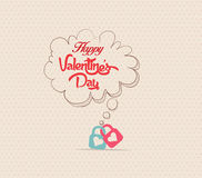 Valentines poster with bubble lock card Stock Images