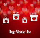 Valentines poster with hanging gift and bokeh hearts. Vector illustration. Royalty Free Stock Images
