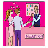 Valentines at the reception. Valentines Day or honeymoon card, cartoon illustration of two lovers at the hotel reception taking a key from the receptionist vector illustration