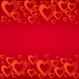 Valentines red background with bright red heart with the composition of red hearts in a row up and down. Greeting for lovers and f Royalty Free Stock Photos