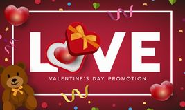 Valentines red frame banner, love letter with gift box, invitation, greeting card. Vector illustration royalty free stock photo