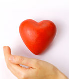 Valentines - red heart in hand Stock Photo