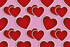 Valentines red hearts over pink background seamless pattern Stock Photography