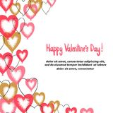 Valentines red and pink hearts balloons border for design. Vector illustration stock illustration