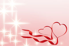 Valentines ribbon hearts with stars Stock Photos