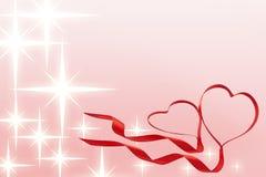 Valentines ribbon hearts with stars Stock Photos