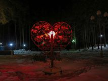 Valentines romantic lantern in city park royalty free stock photos
