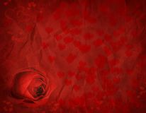Valentines Rose. Rose and hearts for Valentines day on textured background Royalty Free Stock Images