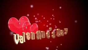 Valentines's day concept. Hearth floating on red background valentines's day concept stock footage