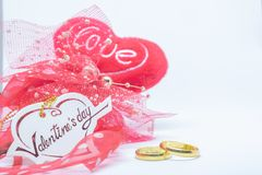 Valentines`s day, heart card love and ring on white background. royalty free stock photography