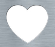 Valentines's Day Heart with Metal Texture on the White Stock Photo