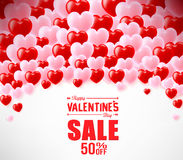 Valentines Sale Banner With Hearts For Promotional Purposes Stock Images