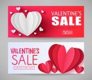 Valentines Sale Limited Tijd slechts Rode en Witte Promotiebanners stock illustratie