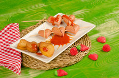 Valentines sausage snack Stock Image
