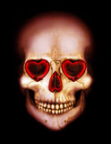 Valentines scary red skull with heart in darkness Stock Image