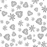 Valentines seamless-01. Abstract seamless pattern with hand drawn hearts. Valentines Day illustration. Design for wallpaper, wrapping paper home textile and stock illustration