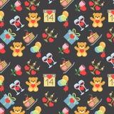Valentines Seamless Pattern Flat Icons Dark Royalty Free Stock Photos
