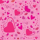 valentines seamless pattern with hearts Stock Photo