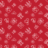 Valentines Seamless Pattern Line Icons Dark Stock Image