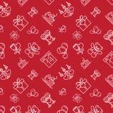 Valentines Seamless Pattern Line Icons Dark Stock Image