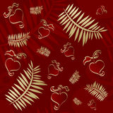 Valentines seamless red pattern. Seamless red valentines pattern with golden hearts Stock Photo