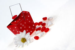 Valentines setup. Jelly beans with red box and flower on side Royalty Free Stock Photos