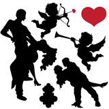 Valentines Silhouettes Vectors Stock Photography