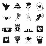 Valentines simple icons set Royalty Free Stock Photos