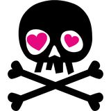 Valentines skull with heart Royalty Free Stock Photography