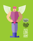Valentines soldiers. Cupid in uniform. Army of love. Military se Royalty Free Stock Photography