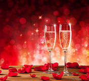 Valentines Still Life With Champagne And Roses Royalty Free Stock Photography