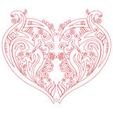 Valentines Swirly love heart tattoo inspired cutout card Stock Images