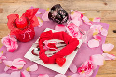 Valentines table with roses Stock Photos