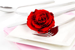 Valentines table setting with an gift box, Royalty Free Stock Photos