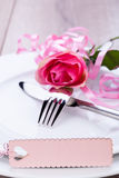 Valentines table setting Stock Image