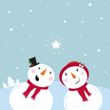 Valentine´s Tag: Schneemann u. Schnee - Frau Stockbild