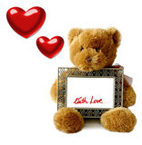 Valentines - Teddybear. A Valentines teddybear holding frame (for your text Stock Illustration