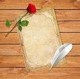 Valentines template with old paper blank, feather pen and red rose stock illustration